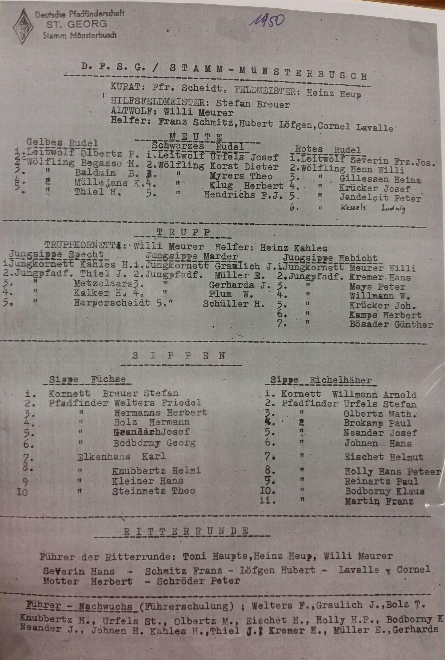 Mitgliederliste des Stammes Münsterbusch 1950