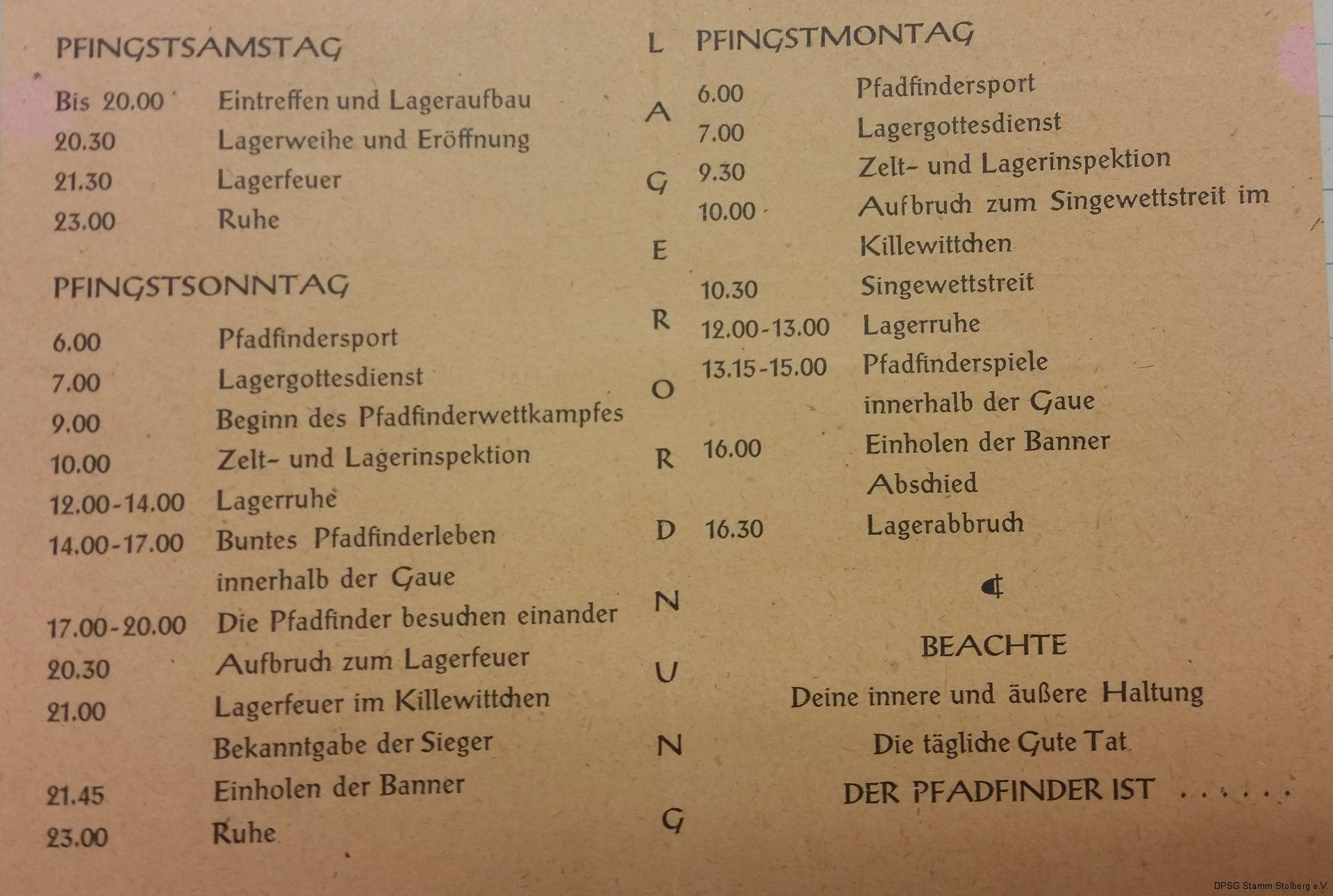 Programm des Landestreffen - Pfingsten 1949