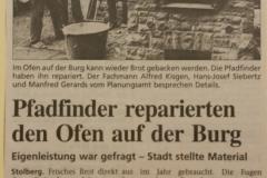 Reparatur des Backofens auf der Stolberger Burg