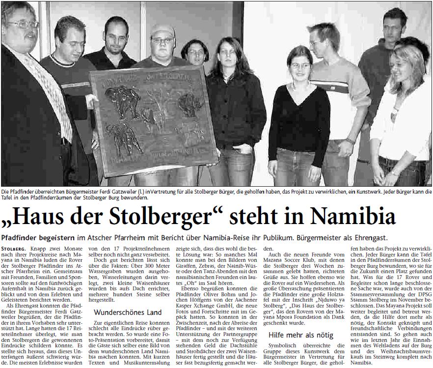Namibia 2005 - Post Vorstellung